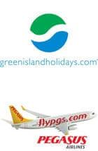 Green Island Holidays and Pegasus Airways logos