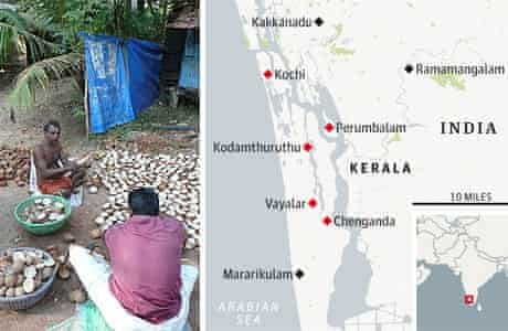 Map of Kerala and villagers shelling coconut