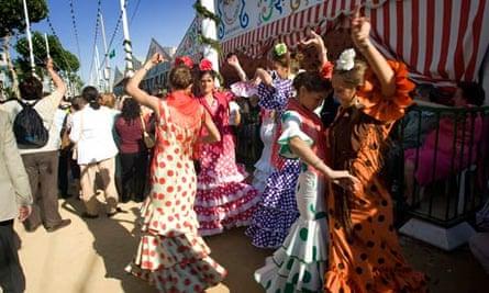 Flamenco dancing at Seville's Feria de Abril
