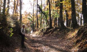 Liz takes a breather on the ancient Via Francigena to Rome