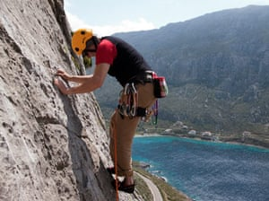 Peter Beaumont climbing on the island