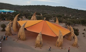 Orange and green … one of Boom's eco-friendly performance tents