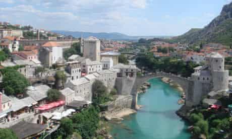 The rebuilt Ottoman-era bridge in Mostar, Bosnia and Herzegovina.