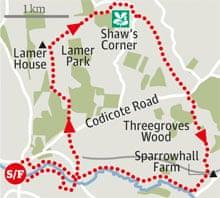Wheathampstead toShaw's Corner, Hertfordshire walk graphic