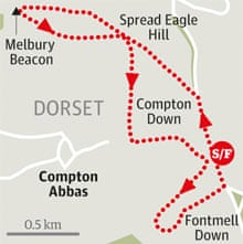 Fontmell and Melbury Downs, Dorset walk graphic