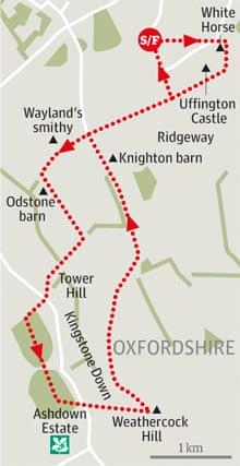 White Horse Hill toAshdown Forest, Oxfordshire walk graphic