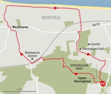 Sheringham Park, Norfolk walk graphic