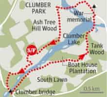 Clumber Park, Nottinghamshire walk graphic