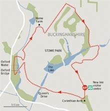 Stowe Parkland, Buckinghamshire walk graphic