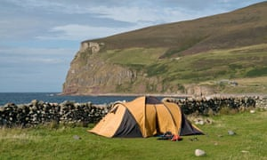 Rackwick Bay HOY ORKNEY Camping tent in Rackwick Bay. Image shot 2008. Exact date unknown.