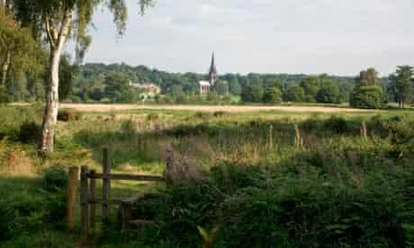 Clumber church, Nottinghamshire, seen across fields