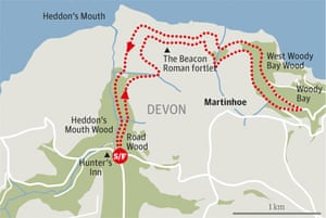 Heddon Valley to Woody Bay walk graphic