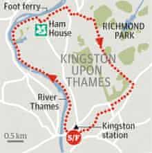 Ham House andKingston, Surrey walk graphic