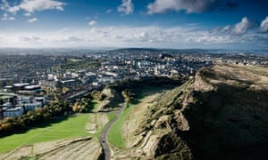 Salisbury Crags as viewed from Arthur's Seat in Edinburgh's Holyrood Park