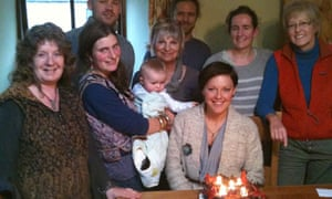 Group with birthday cake