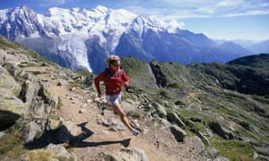 High fitness level … tracks climb into the mountains above Chamonix, France