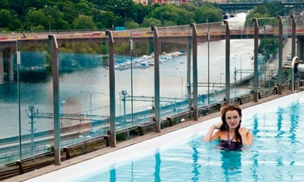 Anna Stothard in the Selma Spa's rooftop pool