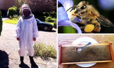 Emma Kennedy suited up for her introduction to beekeeping