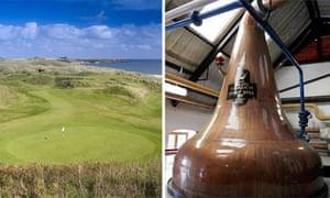 Cruden Bay golf club in Scotland and the Glen Garioch distillery