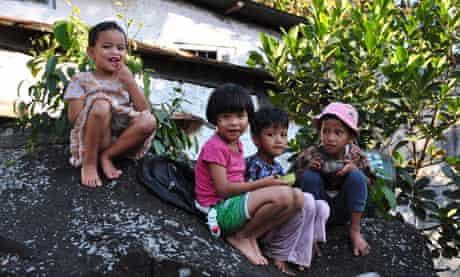 Children in one of the villages below Cherrapunjee