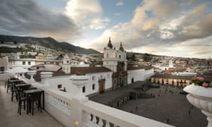 Square deal … the balcony of Casa Gangotena in the heart of Quito
