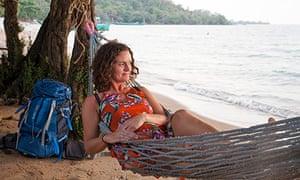 Susan Smillie in hammock on Rabbit Island, Cambodia