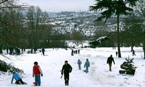 Sledging Alexandra Palace Park, London