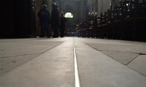 The brass meridian line in St Sulpice Church where winter solstice is marked