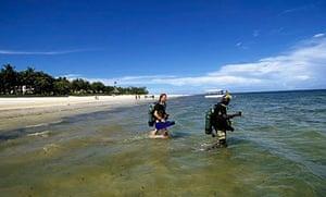 Diving off the beach, Mombasa, Kenya