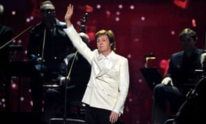 Sir Paul McCartney on stage at the Grammy awards in LA this week