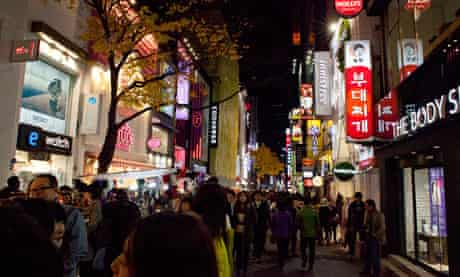Seoul's Myeong-dong district at night