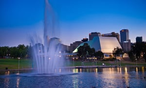 Torrens river and Adelaide Festival Centre, Elder Park, Adelaide