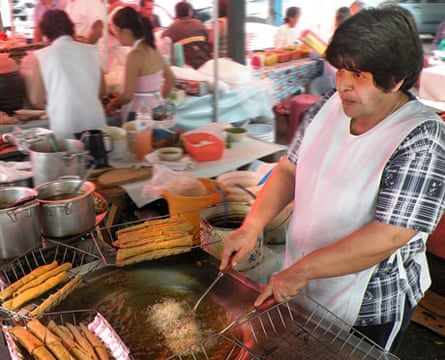 Making flautas street food, Mexico City