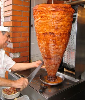 Tacos al pastor street food, Mexico City