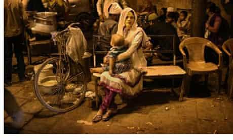 Indian woman at food stall