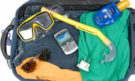 Mobile phone in suitcase