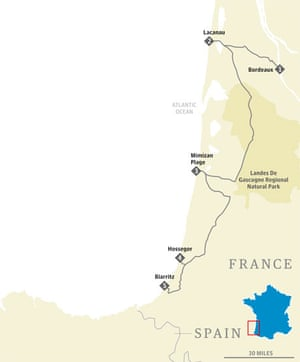 Bordeaux to Biarritz map