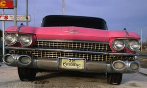 Route 66, pink Cadellac at restaurant, Ann's Chicken Fry House, Oklahoma City.