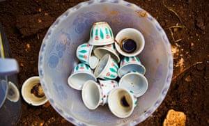 coffee cups in bin