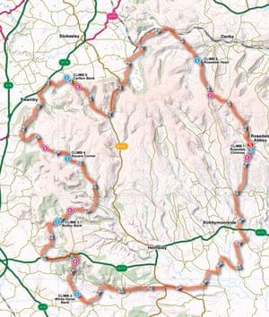 North York Moors map, Great British Bike Rides
