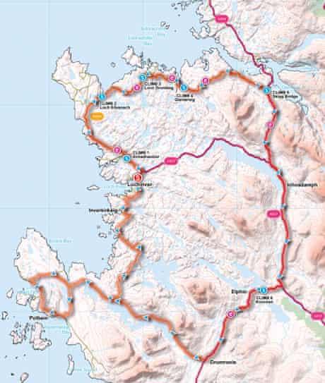 Lochinver map, Great British Bike Rides