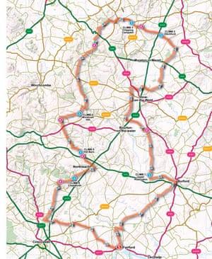 Cotswolds map, Great British Bike Rides