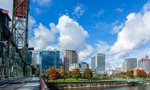 The city skyline viewed from Portland's Hawthorne bridge