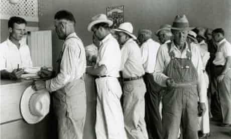 Farmers Picking Up Benefit Checks, 1934