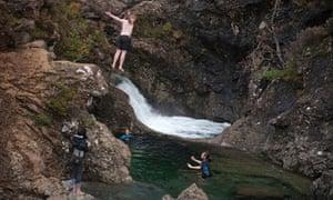 Wild swimming in Fairy Pools in Glen Glenbrittle on the Isle of Skye