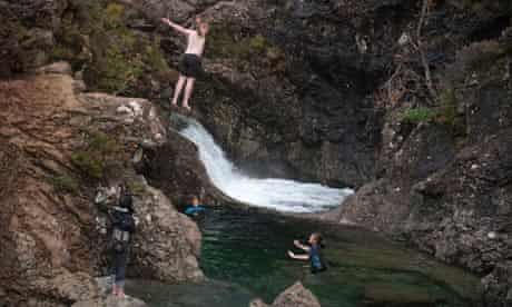 Wild swimming in Fairy Pools in Glen Glenbrittle on the Isle of Skye