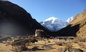 Jomolhari base camp and a ruined dzong on a rock