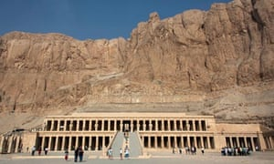 Foreign tourists at Hatshepsut Temple, in Luxor, Egypt