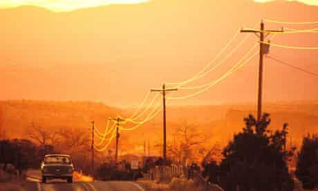 Road at sunset north of Santa Fe NM