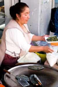 Vendor selling quesadillas in Mexico City